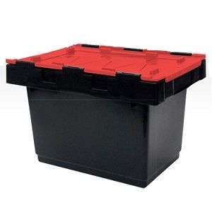 34L Black/Red Security Crate with Lid