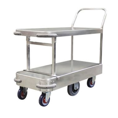 6 Wheel Narrow Stock Twin Platform Trolley (Single Handle)
