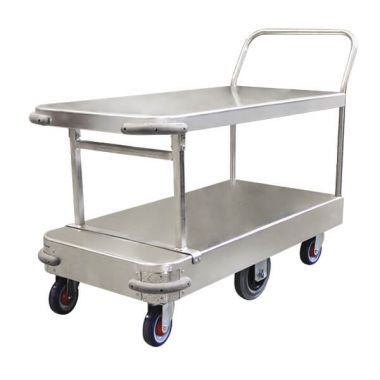 6 Wheel Wide Stock Twin Platform Trolley (Single Handle)